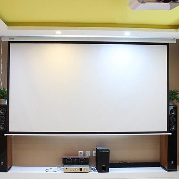Polegada com Controle Tela de Projeção Suporte de Parede Telas do Projetor para Cinema hd Elétrica 150 Remoto 16:9 Motorizado Escritório 3d