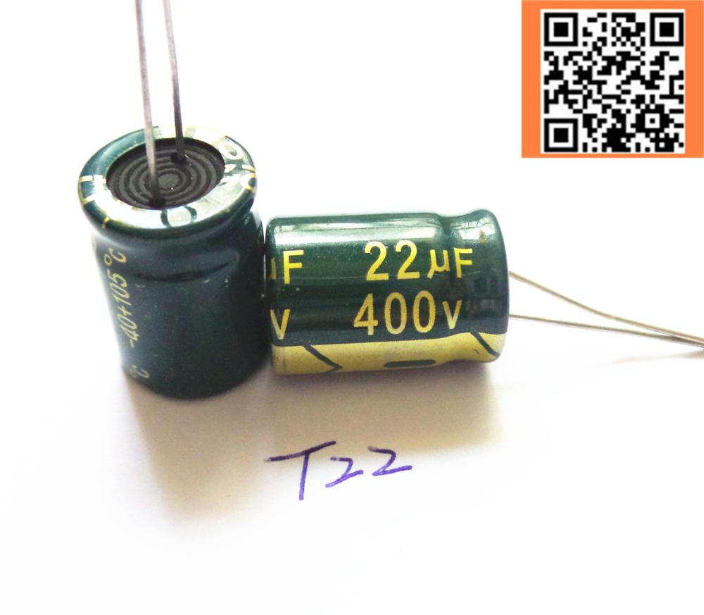 5pcs/lot 22UF high frequency low impedance <font><b>400V22UF</b></font> aluminum electrolytic capacitor size 13*17 T22 20% image