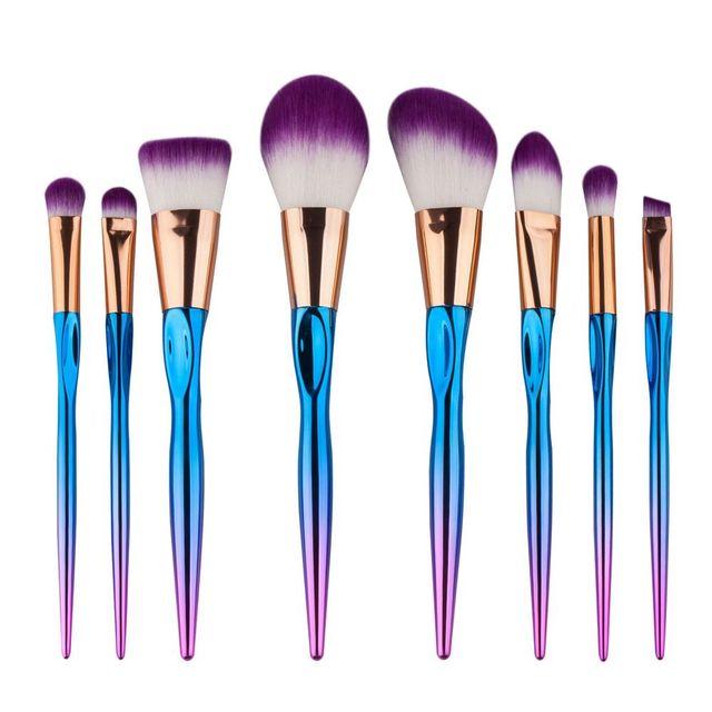 8Pcs Diamond Makeup Brushes Set Blush Loose Cosmetic Powder Brushes Foundation Beauty Facial Professional Make Up Tool Makeup Brushes