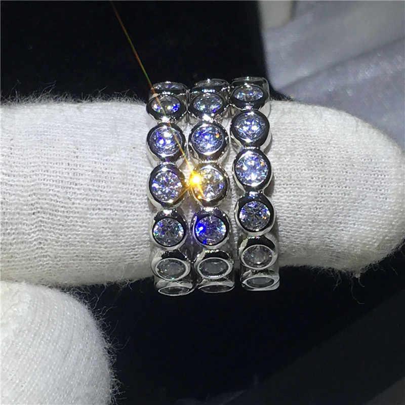 คลาสสิก 3-in-1 เครื่องประดับ 925 แหวนเงินชุด Sona 3 มม.5A zircon หมั้นงานแต่งงานวงแหวนผู้หญิงผู้ชายของขวัญ