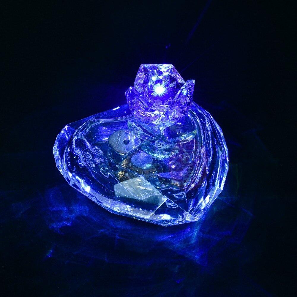 1 개 새로운 크리스탈 로즈 블루 빛 심장 모양 음악 상자 여덟 창조적 인 선물 홈 가구 장식품 KN 005
