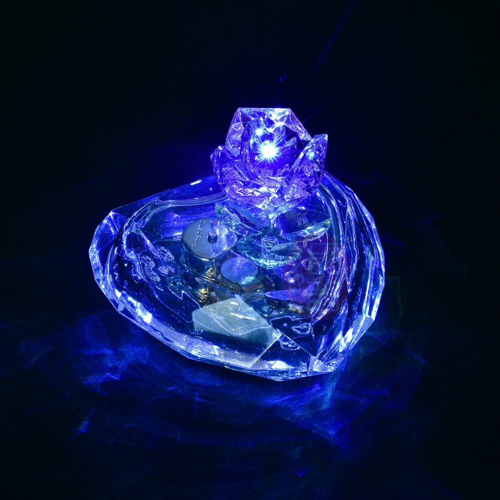 1PC New Crystal Rose with Blue Light Heart Shape font b Music b font font b