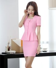 e59ab13bf0c3 New Style 2018 Women Business Suits 2 Piece Skirt and Top Sets Pink Jacket  Short Sleeve Office Ladies Work Wear Uniforms