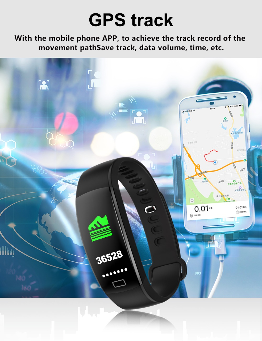 Torntisc F64HR Heart rate smart bracelet IP68 Waterproof Color screen Blood pressure oxygen Fitness tracker Smart band GPS watch (11)