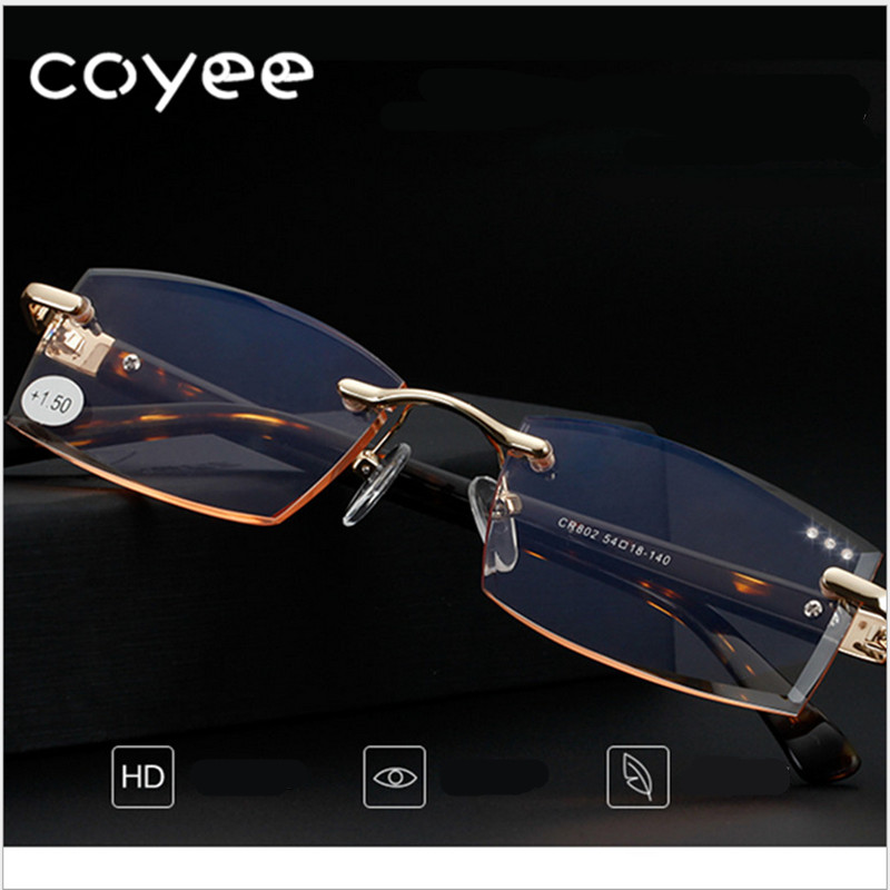 Coyee high quality cutting presbyopia lenses square reading glasses fashion presbyopic spectacles for reader with diamond