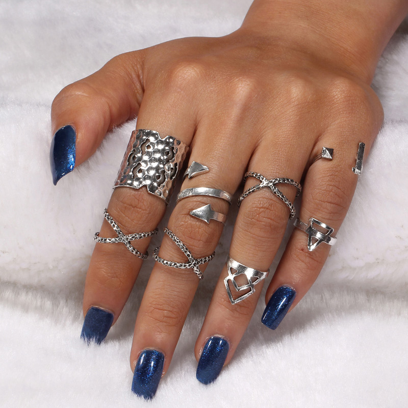 Hesiod Fashion Midi Joint Ring Sets Beach Silver Color Metal Cross Knuckle Ring Set 7PCS/Sets Finger Ring for Women