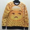 Emoji tile print 3D sweatshirt big head expression yellow hoodies crewneck full printing cartoon hoody men casual clothes