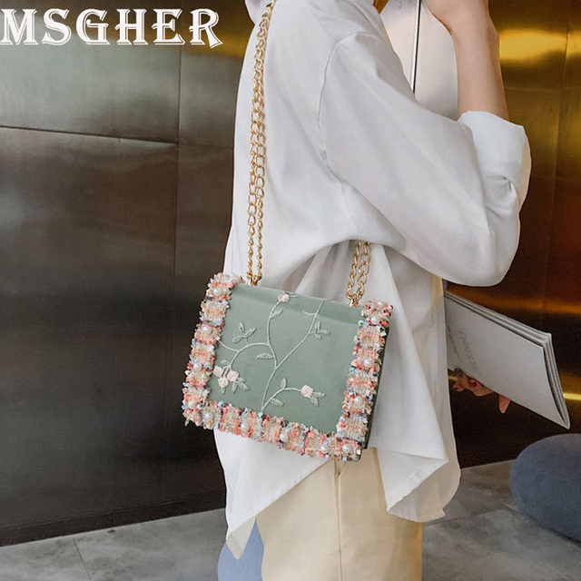 0895130a0df3 MSGHER Chic Chain Bags Women Summer Female Pearl Shoulder Bags Lace  Embroidery Square Bag Fashion Cover