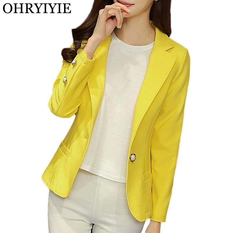 OHRYIYIE 2019 New Arrival Women Blazer Ladies Business Office Suit Jackets Female Yellow Black Blazer Femme Tops Coat S-XXL WC94