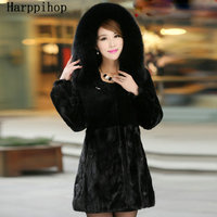 2017 Newest Women Genuine Mink Fur Coat with Rex Rabbit Fur and Fox Fur Hoody Female Winter Warm Outerwear Plus Size