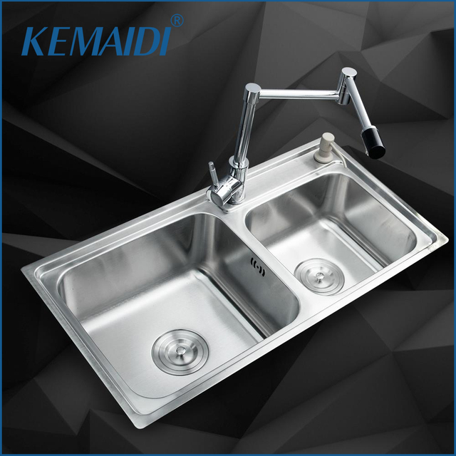 KEMAIDI Kitchen Stainless Steel Sink Vessel Kitchen Washing Dishes Double  Bowl SS 98528 4