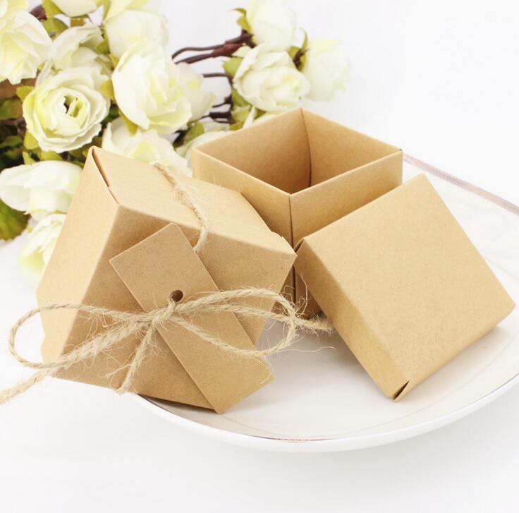 50pcs Brown Kraft Paper Wedding favor Box Wedding Party Cake Gift ...