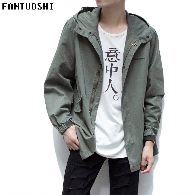 2018 летняя куртка мужская Пальто 98% хлопок дышащий человек куртка весна Высокое качество вышивки куртка с капюшоном мужская куртка