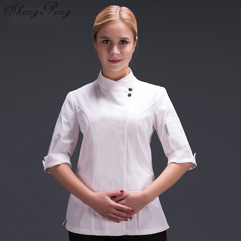 Chef jacket chef uniform for women Cooks kitchen colors high quality chef uniforms CC364-in Chef Jackets from Novelty & Special Use    1