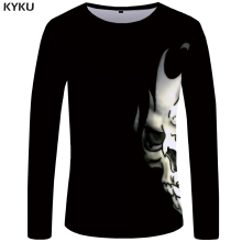 KYKU Brand Skull T shirt Men Long sleeve Black Punk Devil Streetwear Rock Printed Tshirt Graphic Mens Clothing