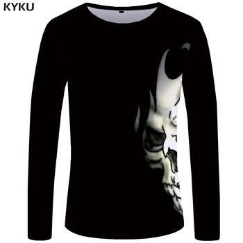 KYKU Brand Skull T shirt Men Long sleeve shirt Black Punk Devil Streetwear Rock Printed Tshirt Rock Graphic Mens Clothing
