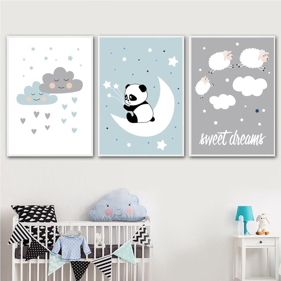 Sheep Wall Art Home Decor ~ Cartoon cloud panda sheep wall art canvas painting nordic