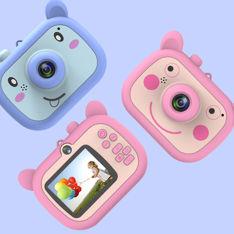 Camera For Kids Toy Mini Camera WIFI HD Video Digital Camera Camcorder For Girls And Boys Includes 16 MicroSD Card (Pig Camera)
