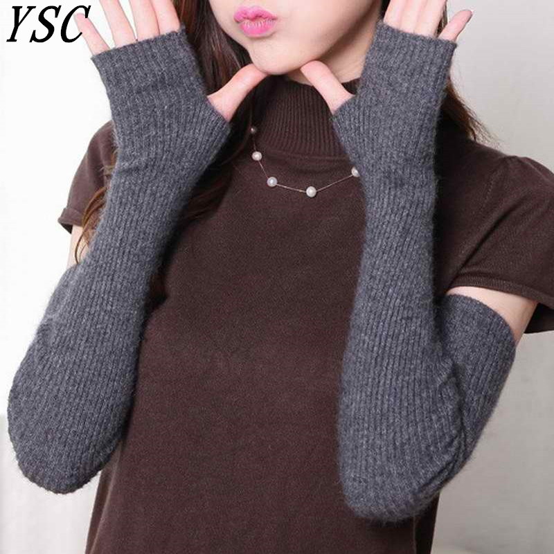 YUNSHUCLOSET Hot Sales Women's Cashmere Knitted Female Gloves 40cm 50cm 60 Cm Long Arm Mittens High Quality Free Shipping