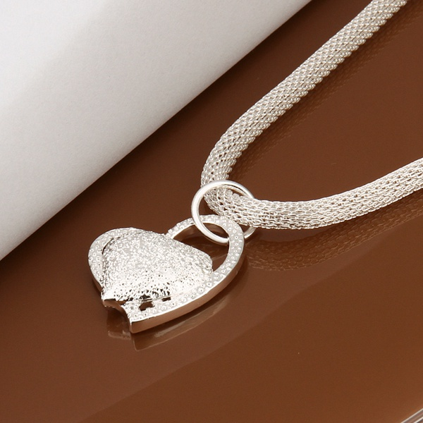 silver color gorgeous charm fashion charm heart wedding lady love necklace noble luxury 18 inches Silver jewelry , N270 5