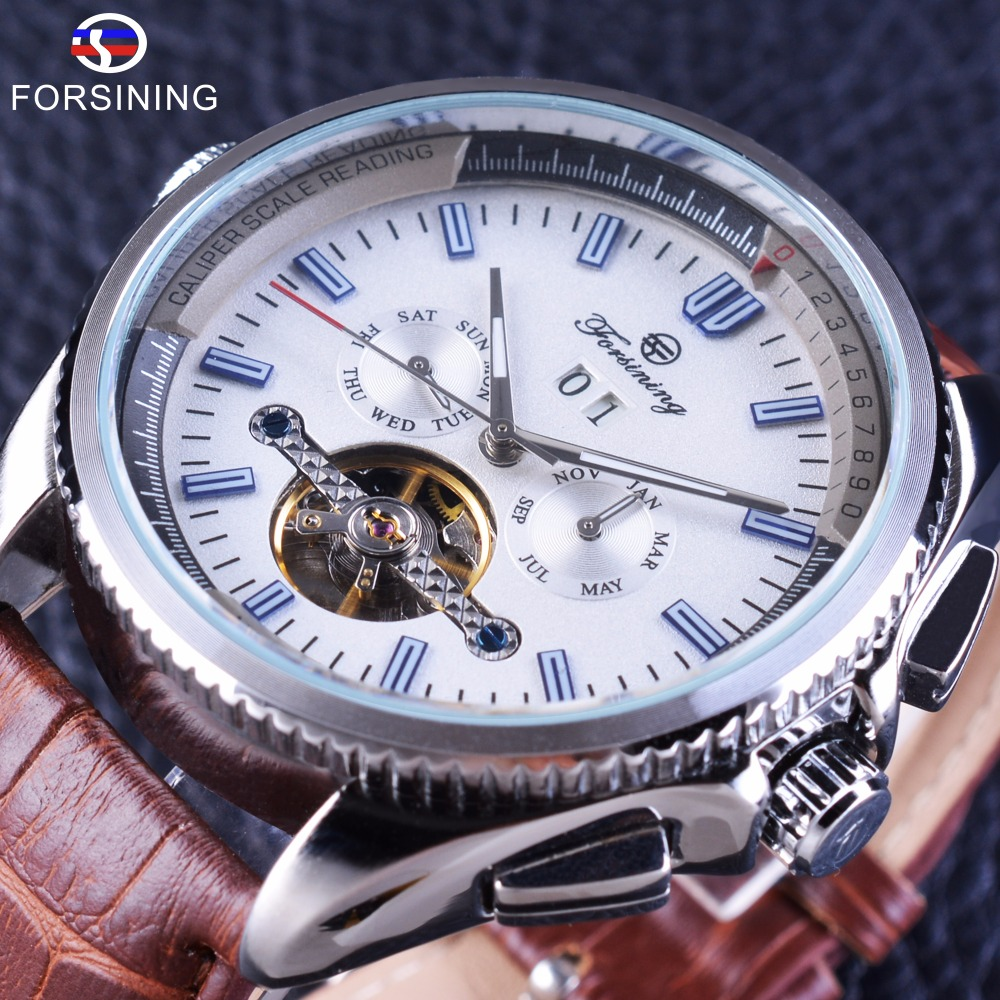 Forsining Navigator Series Automatic Sport Military Wristwatch Mens Watches Top Brand Luxury Tourbillion Calendar Display Clock t motor series mn3515 navigator series