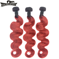 DANCING BEAUTY Pre Colored Brazilian Human Hair Body Wave Bundles 1B/Red Color Ombre Hair Weave 3 Bundles Remy 12 24Inch