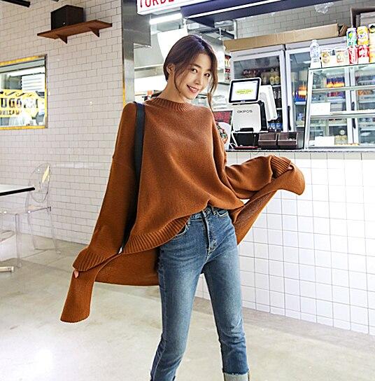 SuperAen Pullovers Sweater Women Split The Fork Cotton Fashion Knit Girls Long Sleeve Wild Casual Autumn
