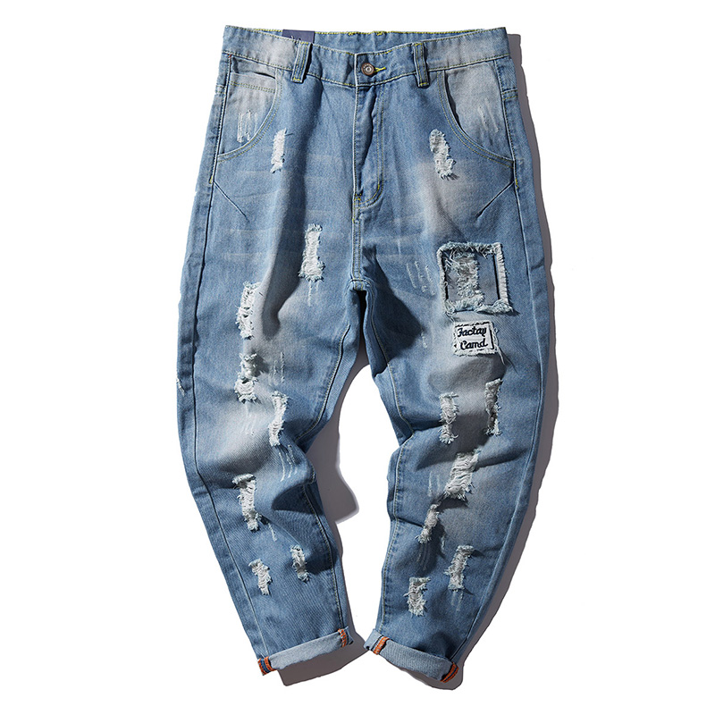0e562da8d9 H.A. Sueno 2018 new Distressed men jeans light blue hole men s long pants  loose fit high