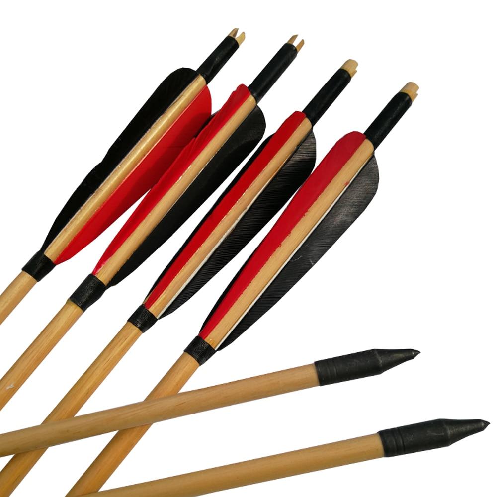 6Pcs Vintage Wooden Arrows Turkey Feather Wood Shaft for Archery