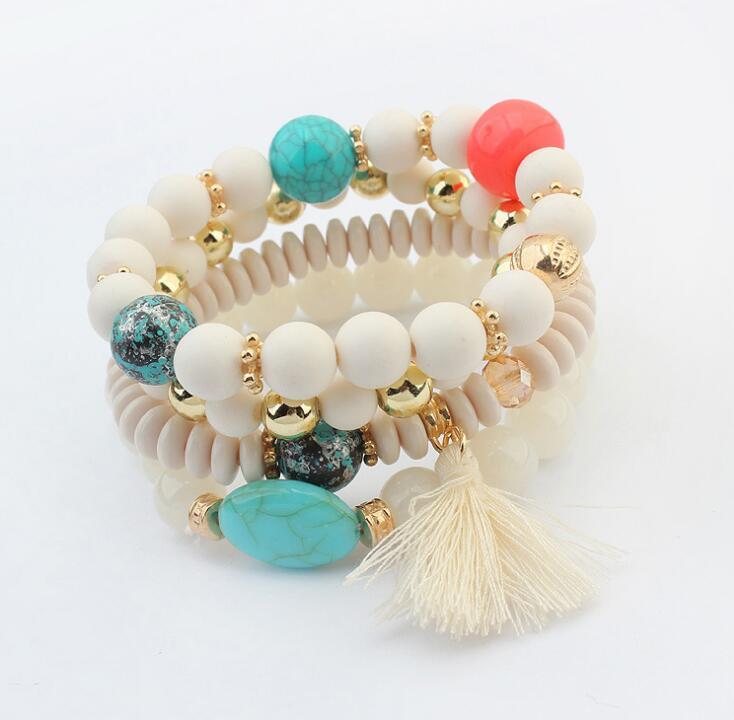 Poem snow Acrylic Handicraft Fashion Small Fresh Ball fringed Bracelet
