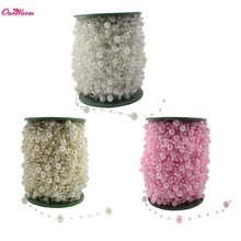 5 Meters Fishing Line Artificial Pearls Beads Chain Garland Flowers Wedding Decoration Event Party Supplies Beige