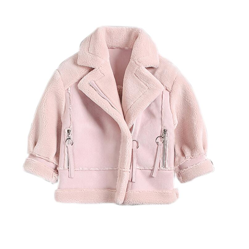 2017 winter new girls children clothing lamb hair coat suede fur thick jacket