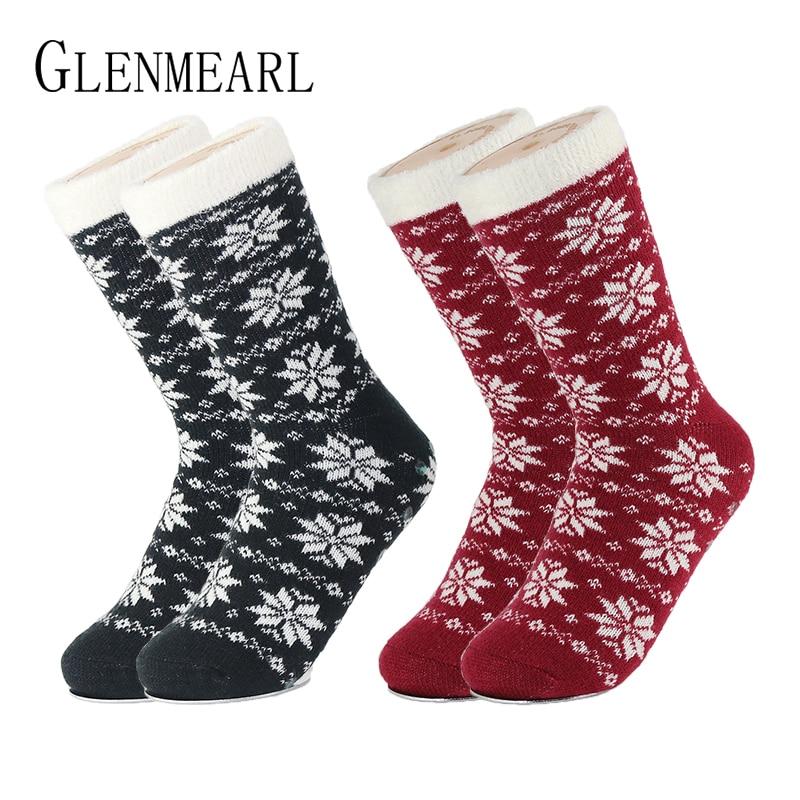 Nylon lemované dámské vnitřní ponožky vrstvené smyky domácí soby dvojité posádky značky vánoční zimní teplé měkké střevíčkové ponožky pro ženy