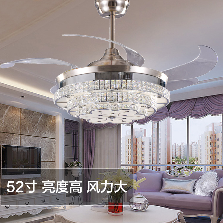 Aliexpress.com : Buy Modern LED Luxury 52 Inch Invisible Retractable  Crystal Ceiling Fans With Lights Bedroom Folding Ceiling Fan Lamp Remote  Control From ...