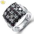 HUTANG 5.6ct Natural Black Garnet Solid 925 Sterling Silver Cluster Ring Gemstone Fine Jewelry Women's Christmas Gift
