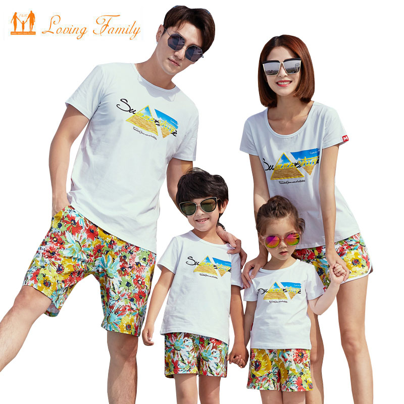 182df9a0d5d0 Family Matching Outfits 2019 Summer Style Print Boy Girl T shirt Shorts  Family Look Dad Son Mother and Daughter Clothes set-in Matching Family  Outfits from ...