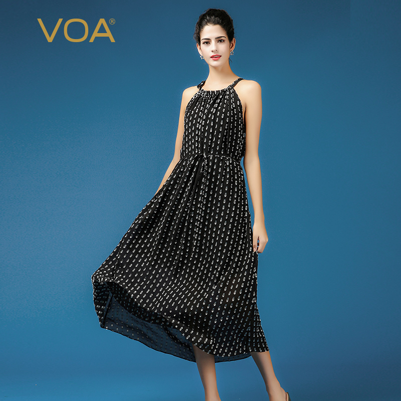 VOA Silk Wave Point Long Dress A Line Two Piece Set Dress Plus Size 5XL Loose Women Casual Beach Holiday Lace up Summer A5695