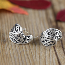 S925 sterling silver jewelry wholesale new lady scrub Xiangyun personalized retro ear buckle free shipping