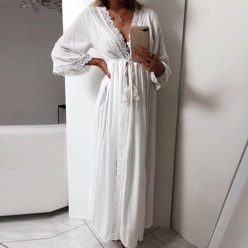 2019 Casual Solid Lace Beach Cover Up Cardigan Lace Up Swimwear Beach Dress Kaftan Beach Tunic Swimsuit Pareos De Playa Mujer