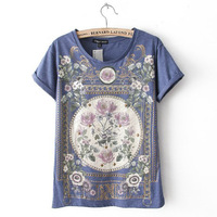 Fashion New Arrival Palace Printed Cotton Women S T Shirt Bottoming Tee Shirt Femme Loose Blusa