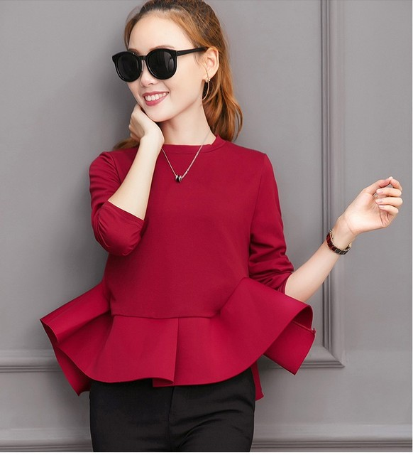 a7446be73 2019 New design girls top long sleeve tops blouses red black women's fashion  ruffle tops office lady shirts size XL M L #A118