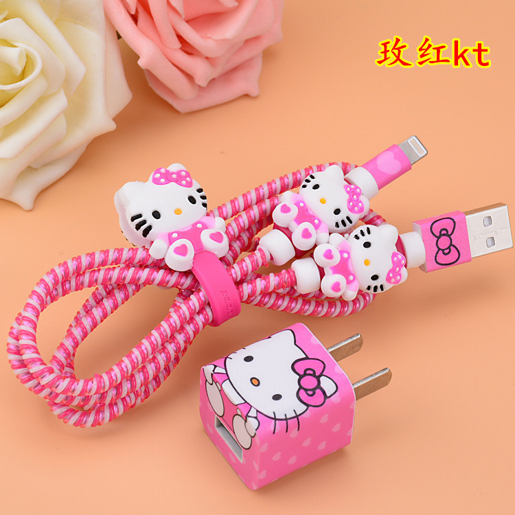 1 Set Cartoon Hello Kitty USB Cable Earphone Protector Set With Cable Winder Stickers Spiral Cord Protector For Iphone 5 6 6s 7