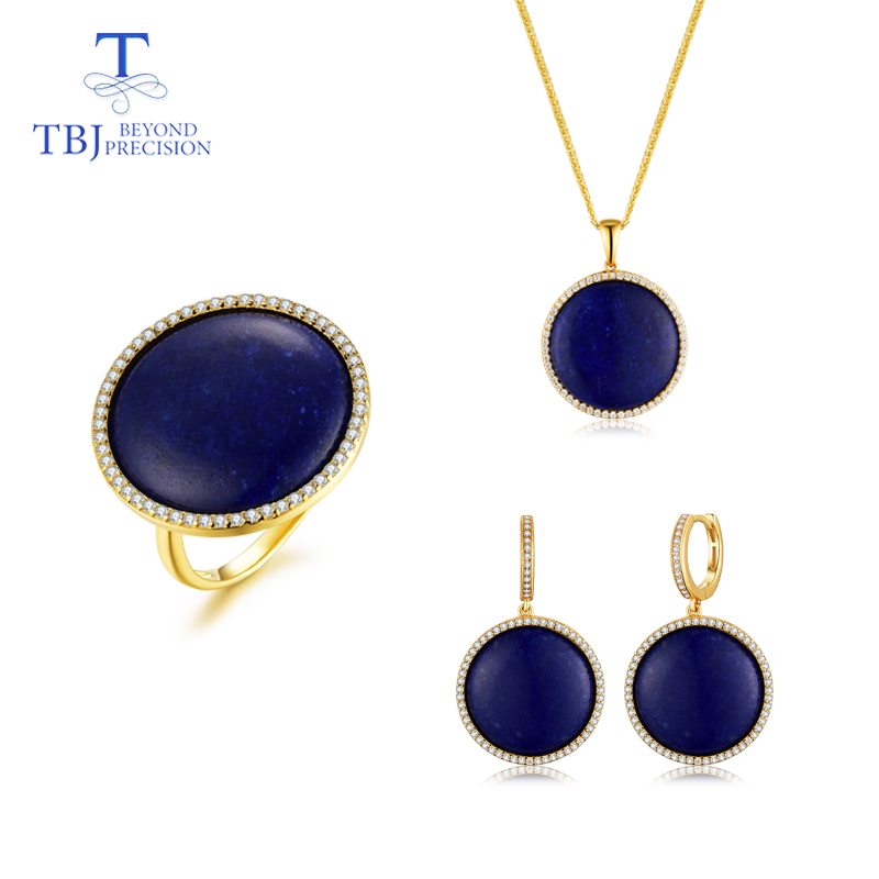 TBJ hot sale natural lapis gemstone jewelry set Unique in 925 silver Romantic ring pendant earring
