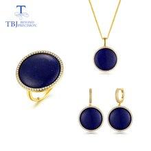 TBJ,hot sale natural lapis gemstone jewelry set Unique