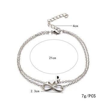Donarsei A-Z Boho Double Layers Infinite Letter Anklet For Women Beach Silver Color Heart Ankle Bracelet Alphaet Foot Bracelet 3