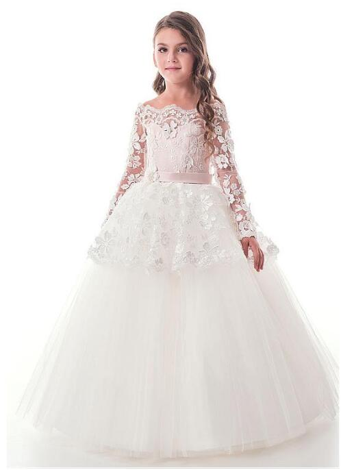 White Lace Puffy Tulle Flower Girl Dresses for Weddings First Communion Dresses for Girls Pageant Gown with Sash Size 2-16Y