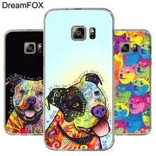 DREAMFOX L418 Cute Pitbull Dogs Soft TPU Silicone Case Cover For Samsung Galaxy Note 3 4 5 8 S5 S6 S7 Edge S8 Plus Grand Prime