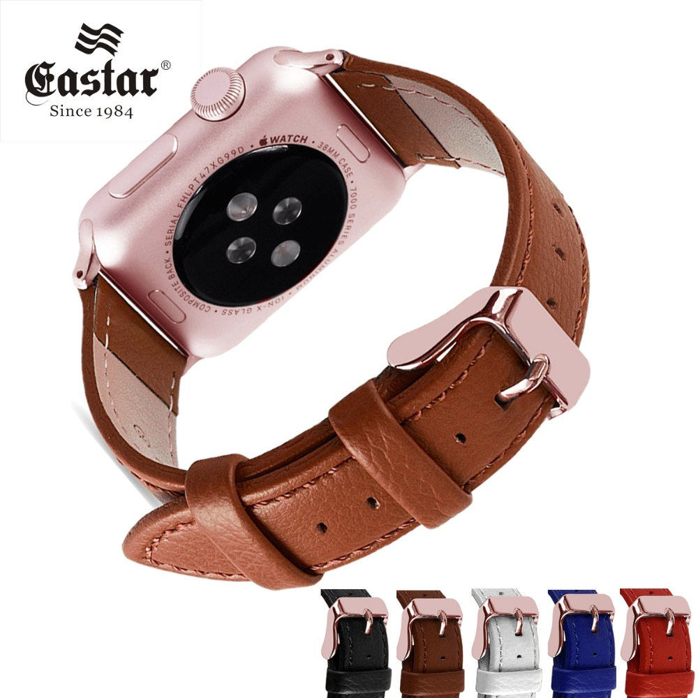 Eastar Rose Gold Bracelet Genuine Leather Watchband For Apple Watch Band 42mm 38mm iWatch Accessories For Apple Watch Strap все цены