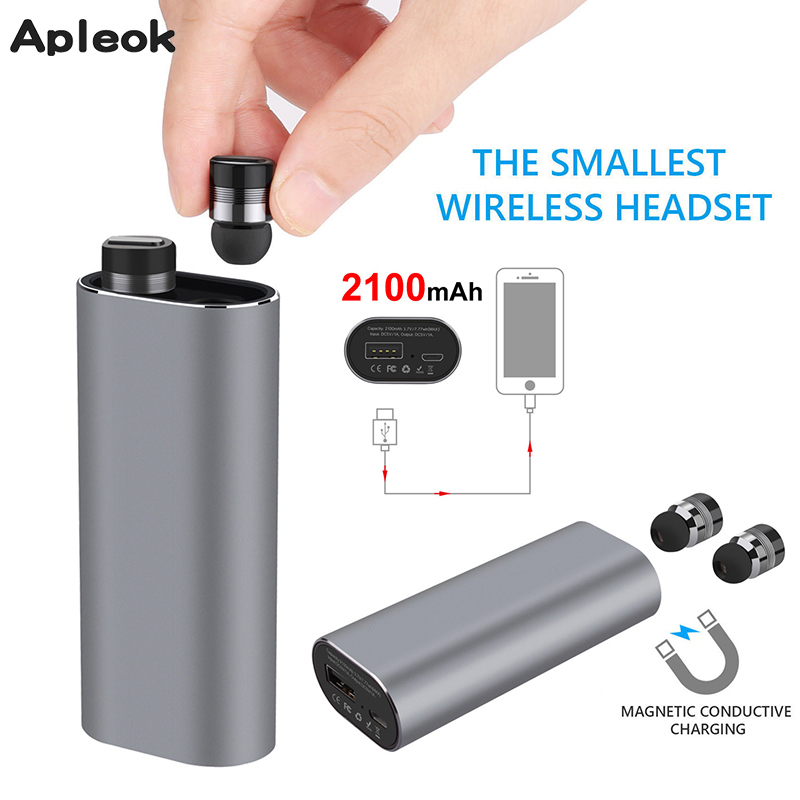 Ture Wireless Stereo TWS Mini Bluetooth headset Stereo Earphone built-in Mic Wireless Recharge Earbud with 2100mAh power bank