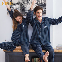 J&Q Pajamas 2019 100% Cotton Cardigan Long Sleeved Men And Women Pajamas Striped Embroidered Lapel Couple Home Suit Sleep Wear